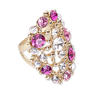 ring, swarovski crystals and gold-finished pewter (zinc-based alloy), rose / fuchsia / crystal clear, 36mm wide with fancy oval and cutout design, size 8. sold individually.