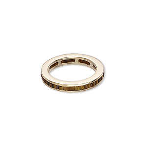 ring, tigereye (natural) and gold-finished sterling silver, 4mm wide, size 8. sold individually.