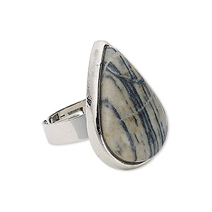 ring, zebra jasper (natural) with silver-plated steel and pewter (zinc-based alloy), 29x19mm teardrop, adjustable from size 5-9. sold individually.