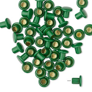 rivet, acrylic and brass, green, 5.5x5mm with 3mm shank and 2.5mm inside diameter, fits 3.5-5mm hole. sold per pkg of 50.