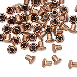 rivet, copper-plated brass, 5.5x5mm with 3mm shank and 2.5mm inside diameter, fits 3.5-5mm hole. sold per pkg of 50.