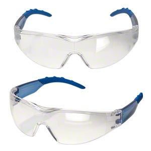 safety glasses, polycarbonate and nylon, clear and blue, anti-fog and scratch-resistant. sold individually.