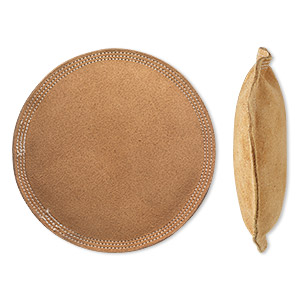 sandbag, leather suede, tan, 6x1 inch round. sold individually.