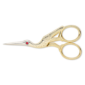 scissors, swarovski crystals with gold- and silver-finished steel, ruby, 3-1/2 x 1-1/2 inch stork. sold individually.