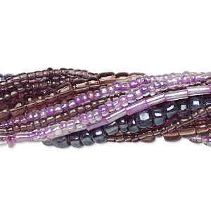 seed and bugle bead mix, glass, mixed colors, #10 round / #6 round / 5x2mm bugle. sold per pkg of (10) 14-inch strands.