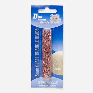 seed bead, blue moon beads and toho beads, glass, clear color-lined pink, 5x5x5mm triangle with triangle hole. sold per 13-gram pkg.