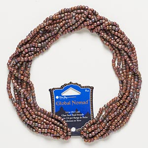 seed bead, blue moon beads, glass, brown rainbow, #6. sold per pkg of (8) 14-inch strands.