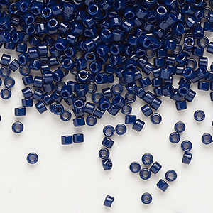 seed bead, delica, duracoat opaque dark navy blue, (db2144), #11 round. sold per 50-gram pkg.