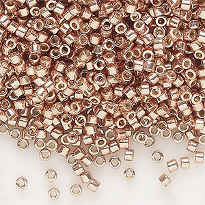 seed bead, delica, duracoat opaque galvanized champagne, (db1834), #11 round. sold per 7.5-gram pkg.