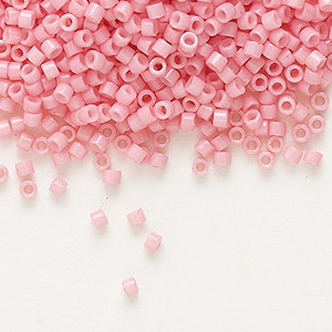 seed bead, delica, duracoat opaque powder pink, (db2116), #11 round. sold per 7.5-gram pkg.