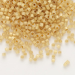 seed bead, delica, glass, 24kt gold-lined opal, (db230), #11 round. sold per 50-gram pkg.