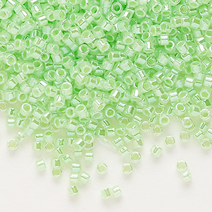 seed bead, delica, glass, ceylon color-lined limeade, (db237), #11 round. sold per 250-gram pkg.