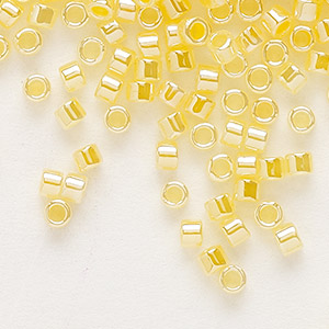 seed bead, delica, glass, ceylon color-lined yellow, (db233), #11 round. sold per 250-gram pkg.