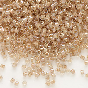seed bead, delica, glass, color-lined beige, (db69), #11 round. sold per 50-gram pkg.