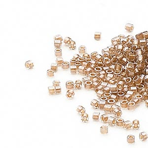 seed bead, delica, glass, color-lined champagne, (db907cut), #11 cut. sold per 50-gram pkg.