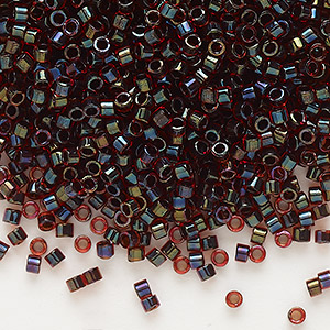 seed bead, delica, glass, color-lined chocolate cherry, (db297), #11 round. sold per 7.5-gram pkg.