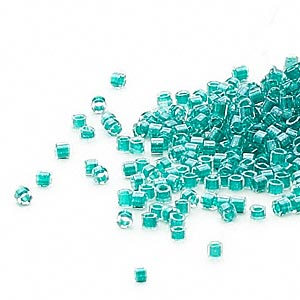 seed bead, delica, glass, color-lined dark turquoise blue, (db918cut), #11 cut. sold per 50-gram pkg.