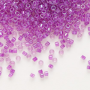seed bead, delica, glass, color-lined lilac, (db73), #11 round. sold per 7.5-gram pkg.