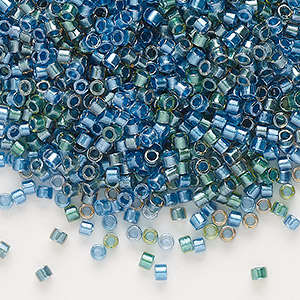 seed bead, delica, glass, color-lined mix green and blue, (db985), #11 round. sold per 250-gram pkg.