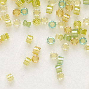 seed bead, delica, glass, color-lined mix lemon and lime, (db983), #11 round. sold per 7.5-gram pkg.