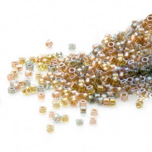 seed bead, delica, glass, color-lined mix metallic, (db981), #11 round. sold per 250-gram pkg.