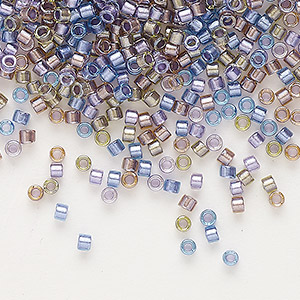 seed bead, delica, glass, color-lined mix purple and bronze, (db986), #11 round. sold per 50-gram pkg.