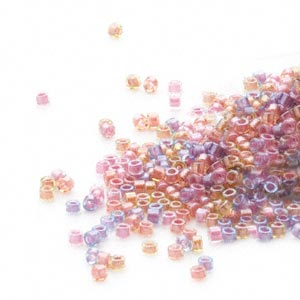 seed bead, delica, glass, color-lined mix purple and salmon, (db982), #11 round. sold per 50-gram pkg.