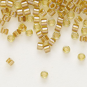 seed bead, delica, glass, color-lined mustard, (db909), #11 round. sold per 250-gram pkg.