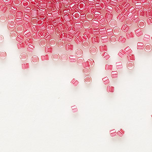 seed bead, delica, glass, color-lined pink lipstick, (db914), #11 round. sold per 7.5-gram pkg.