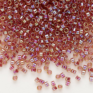 seed bead, delica, glass, color-lined rainbow dark topaz brown, (db88), #11 round. sold per 250-gram pkg.