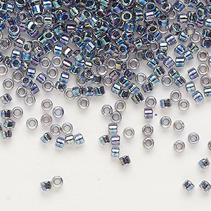 seed bead, delica, glass, color-lined rainbow gunmetal blue, (db86), #11 round. sold per 7.5-gram pkg.