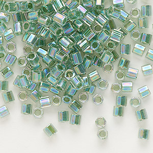 seed bead, delica, glass, color-lined rainbow light lime, (dblc0060), #8 cut. sold per 50-gram pkg.
