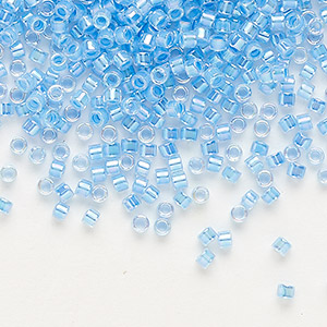 seed bead, delica, glass, color-lined rainbow medium blue, (db76), #11 round. sold per 50-gram pkg.