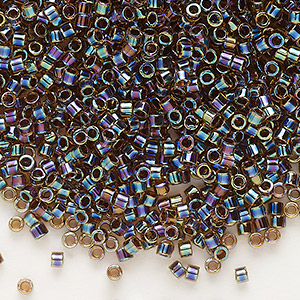 seed bead, delica, glass, color-lined rainbow root beer, (db87), #11 round. sold per 50-gram pkg.