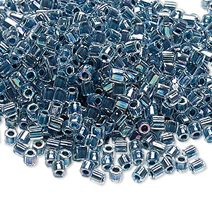 seed bead, delica, glass, color-lined rainbow storm blue, (dblc0058), #8 cut. sold per 7.5-gram pkg.
