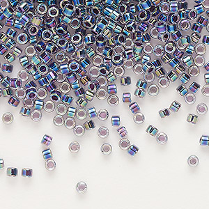 seed bead, delica, glass, color-lined rainbow violet, (db59), #11 round. sold per 7.5-gram pkg.