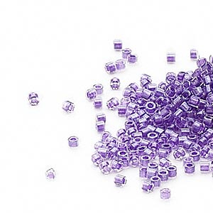 seed bead, delica, glass, color-lined shimmer lavender, (db906cut), #11 cut. sold per 50-gram pkg.