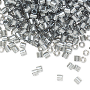 seed bead, delica, glass, color-lined silver, (dbl0271), #8 round. sold per 7.5-gram pkg.