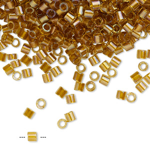 seed bead, delica, glass, color-lined topaz yellow, (dbl0065), #8 round. sold per 250-gram pkg.