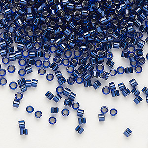 seed bead, delica, glass, copper-lined cobalt, (db183), #11 round. sold per 7.5-gram pkg.