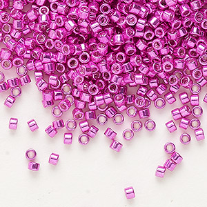 seed bead, delica, glass, galvanized hot pink, (db425), #11 round. sold per 50-gram pkg.