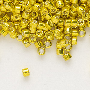 seed bead, delica, glass, galvanized lemon, (db424), #11 round. sold per 7.5-gram pkg.