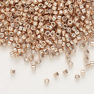 seed bead, delica, glass, galvanized light gold, (db411), #11 round. sold per 7.5-gram pkg.