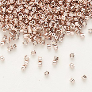 seed bead, delica, glass, galvanized light rose, (db418), #11 round. sold per 50-gram pkg.