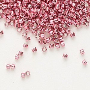 seed bead, delica, glass, galvanized pink, (db420), #11 round. sold per 7.5-gram pkg.