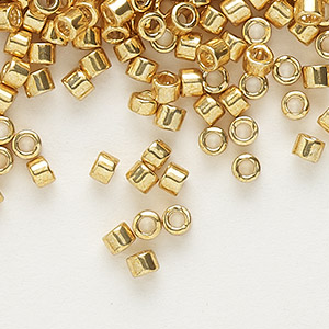 seed bead, delica, glass, galvanized yellow gold, (db410), #11 round. sold per 50-gram pkg.