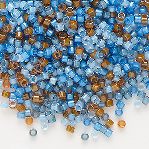seed bead, delica, glass, mixed transparent luminous colors, (db2068), #11 round. sold per 50-gram pkg.