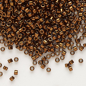 seed bead, delica, glass, nickel-finished copper, (db461), #11 round. sold per 50-gram pkg.