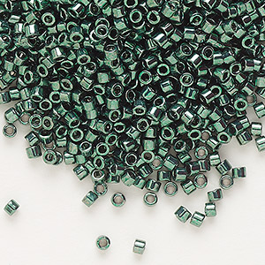 seed bead, delica, glass, nickel-finished dark green, (db458), #11 round. sold per 50-gram pkg.