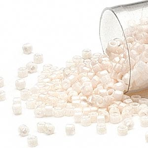 seed bead, delica, glass, opaque alabaster, (db1490), #11 round. sold per pkg of 250 grams.